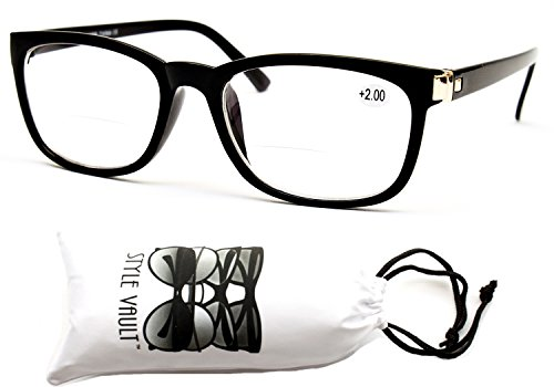 E3052-vp Style Vault Bifocal Reading Glasses Readers (B2723F +2.00 Black, - Glasses With Clear Bifocals