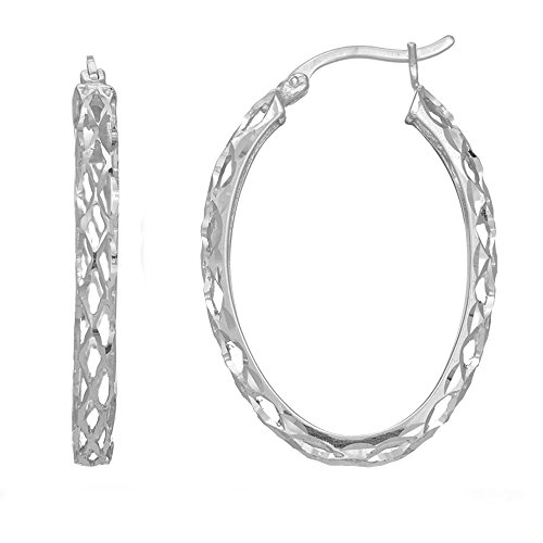 - Sterling Silver Rhodium Finish Shiny Diamond Cut Weaved Oval Hoop Earrings, Diameter 30mm