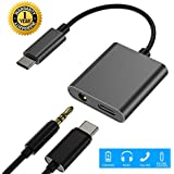 USB C to 3.5mm Audio Adapter, 2 IN 1 Type C to 3.5mm Headphones Adapter, USB-C Earphones Adapter Charger for Pixel 3/3 XL/2/ 2 XL,Samsung Note8/S8/S9/S9+,Macbook Air,iPad Pro(Not for Moto Phone)