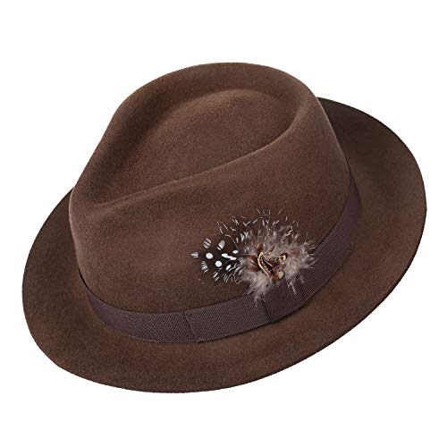(Deevoov 100% Wool Felt Men's Fedora Outback Trilby Hat Snap Brim Cap with Hat Band Feather, Dark Camel)
