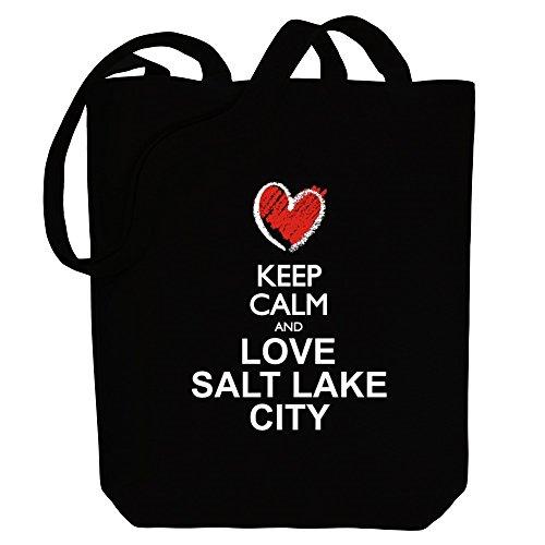 Idakoos Keep calm and love Salt Lake City chalk style Bereich für Taschen