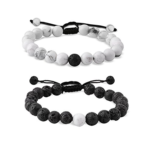 EnjoIt Distance Bracelet Black Matte Agate & White Howlite Energy Stone Beads Bracelet Set Couple Jewelry (Braided Black1)