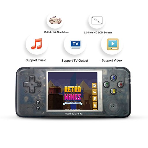 BAORUITENG Handheld Game Console, Retro Game Console 3 Inch HD Screen 3000 Classic Game Console ,Portable Video Game Great Gift for Kids (Black) by BAORUITENG (Image #3)