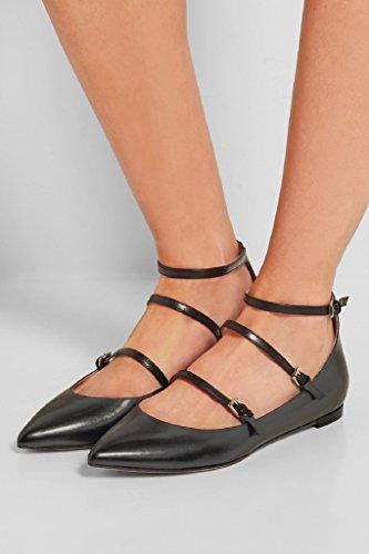 Boucles Kolnoo Bout Des Noires Chaussures Pointu Trois Bureau De De Mariage Femmes Mode Flats HHwzrX