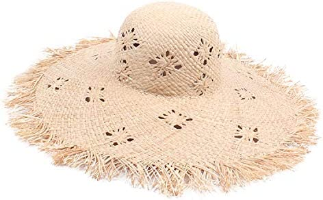 0be6635c2 FEN-GZD Foldable Straw Hat Woman's Summer Seaside Holiday Raffia Sun ...