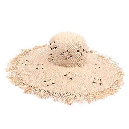(Fashion Foldable Straw Hat Woman's Summer Seaside Holiday Raffia Sun Hat Pattern Raw Edge Sunscreen Beach Hat Comfort (Color : Natural, Size : Adjustable))