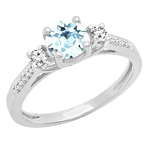 Dazzlingrock Collection 10K 6 MM Round Aquamarine,White Sapphire & Diamond Bridal Engagement Ring, White Gold, Size 7