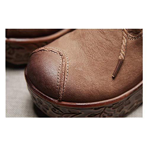 Mode Martin pour Chaussures ZPEDY Compensées Chaussures Kaki Bottes Vintage Lacets Femmes qzIWPZwWB