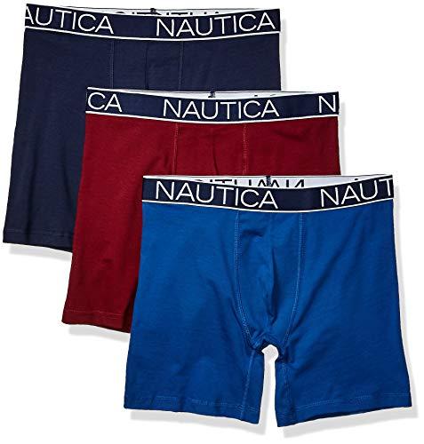 Nautica Men's 3-Pack Classic Underwear Cotton Stretch Boxer Brief, Peacoat/Monaco Blue/Tawny Port, X-Large ()