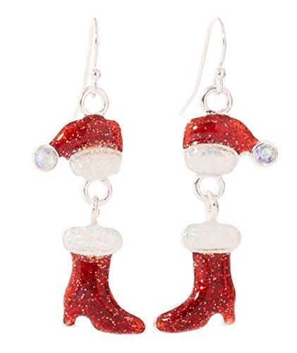 Artisan Owl - Christmas Glitter Stocking Red Enamel Dangle Earrings