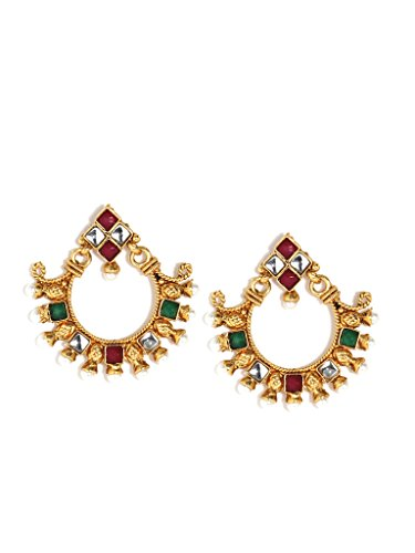 (Bindhani Indian Jewelry Fashion Ethnic Bride Bridesmaid Bridal Traditional Bollywood Jewellery Gold Plated Kundan Red Green Polki Stone Wedding Party Wear Dangle Faux Pearl Drop Earrings For Women)