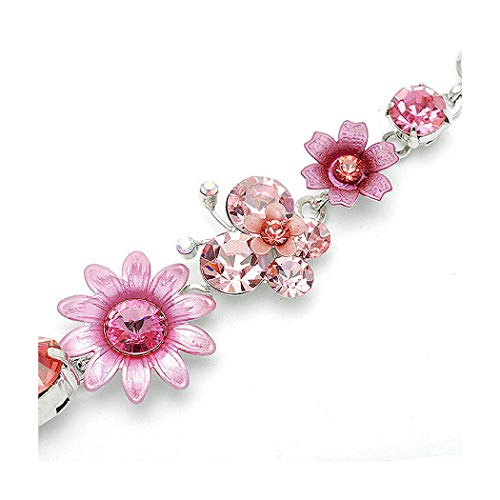 Glamorousky Flower and Butterfly Bracelet with Pink Austrian Element Crystals (1084)
