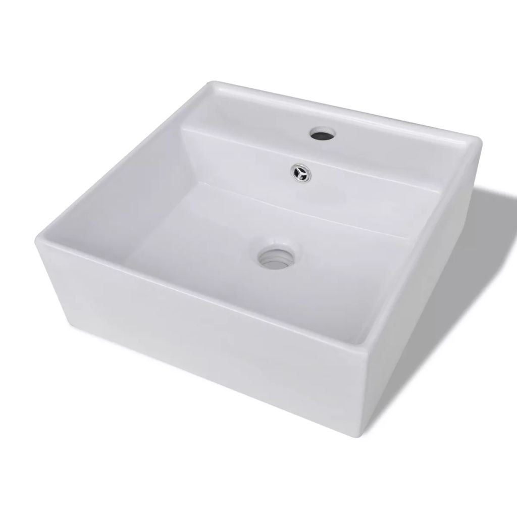 Festnight Luxury Bathroom Ceramic Vessel Sink Square Countertop Basin Sink with Faucet Hole and Overflow Hole Above Counter Sinks for Lavatory Contemporary Style White