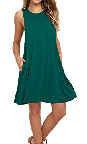 AUSELILY Women's Sleeveless Summer Swing Tank Sundress (L, Dark - Dress Womens Tank Green