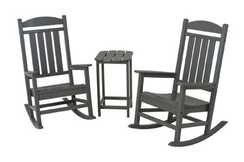 POLYWOOD PWS139-1-GY Presidential 3-Piece Rocker Chair Set, Slate Grey