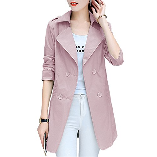 Reedbler Women Slim Overcoat Medium Long Trench Coat Spring Autumn Pockets Office Windbreaker Coat Outerwear pinkXL ()