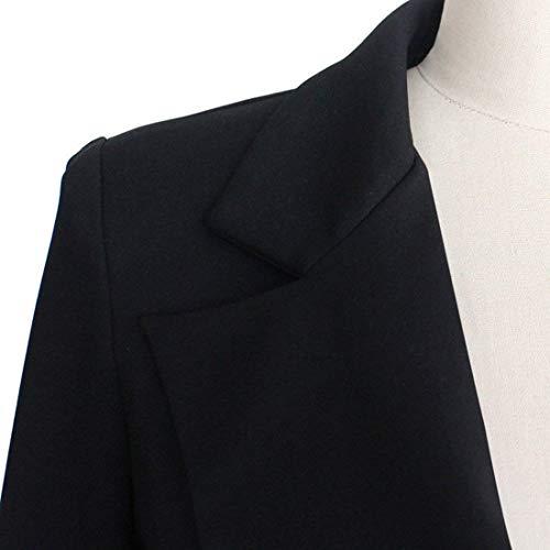Ragazzi Bavero Business Outerwear Eleganti Schwarz Caftano Monocromo Slim Maniche Fit Camicia Tailleur Coat Donna Parigine Blazer Lunghe Classiche Ufficio Eleganza Stile Semplicemente Moda 1gxFqvW0