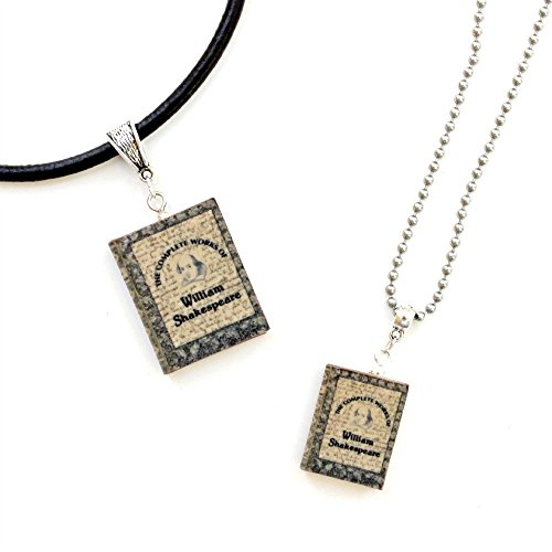 [WILLIAM SHAKESPEARE The Complete Works Polymer Clay Mini Book Pendant Necklace by Book Beads Choose Your Necklace Type] (Costumes Ideas For 4)