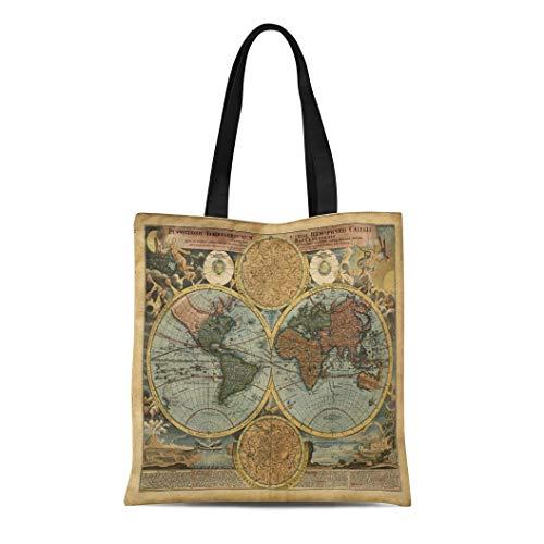 - Semtomn Canvas Tote Bag Shoulder Bags Pattern Vintage Old Map World Ancient Antique Atlas Europe Women's Handle Shoulder Tote Shopper Handbag
