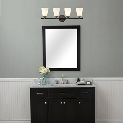 AXILAND Vanity Lighting 4 Light Oil Rubbed Bronze Wall Sconce with Opal Glass Shade by AXILAND (Image #2)