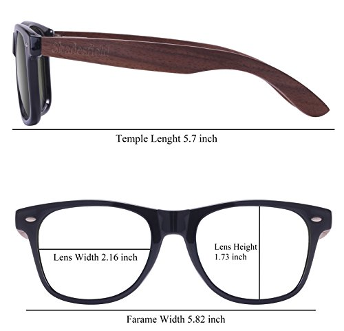 sol negras Shadesfield de de con lentes mujer Wayfarer de polarizadas hombre o Gafas nogal para madera qqPUtH