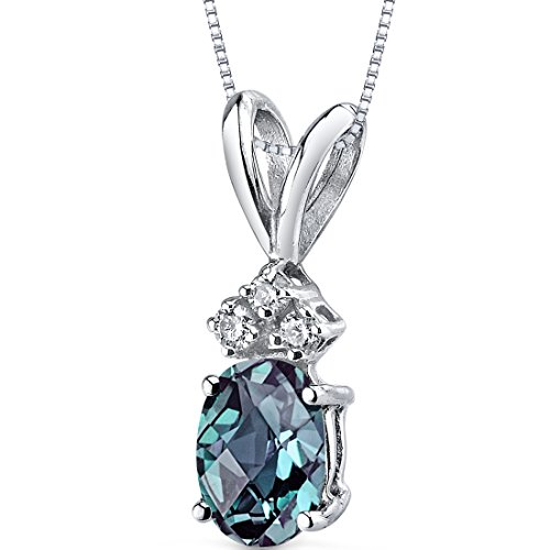 14 Karat White Gold Oval Shape 1.00 Carats Created Alexandrite Diamond Pendant