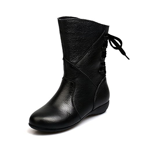 AmoonyFashion Womens Round-Toe Closed-Toe Low-Heels Boots With Bandage and Thread Black