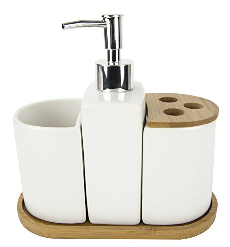 - Home Basics 4 Piece Ceramic Bath Accessory Set with Natural Bamboo Accents, White