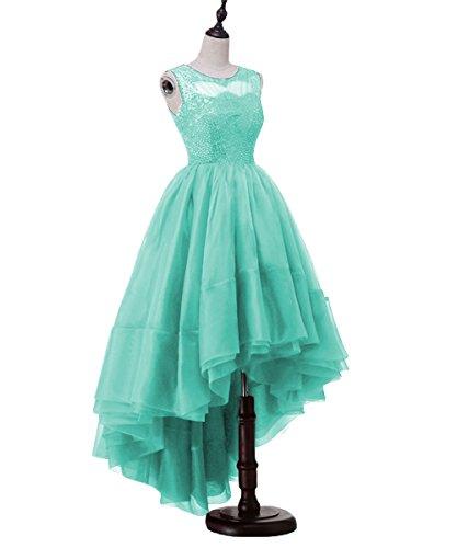 Beaded Prom Neckline Dresses Hi Lace Organza DYS Aqua Lo Homecoming Scoop Women's XwqEnROU