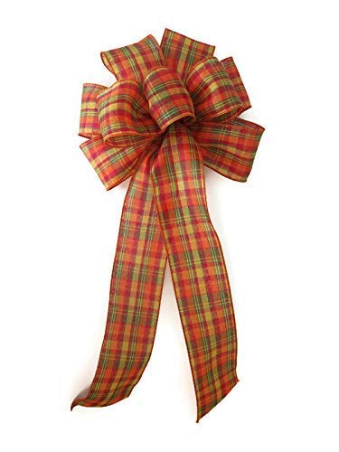 "10"" Fall Plaid Wired Wreath Bow 41BppiDtAIL"