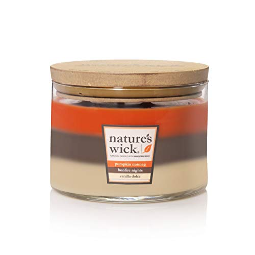 - Nature's Wick Glass Container 3-Wick Candle Pumpkin Nutmeg/Bonfire Nights/Vanilla Dolce 18oz, pack of 1