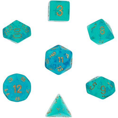 chessex-dice-polyhedral-7-die-borealis-dice-set-teal-with-gold-numbers-chx-27486
