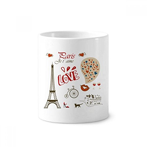 Love Paris France Eiffel Tower Toothbrush Pen Holder Mug White Ceramic Cup 12oz