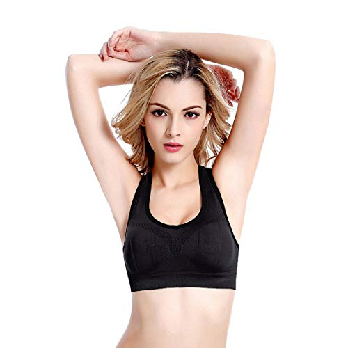 MingAo Racerback Sports Bra, Activewear Padded High Impact Wire-Free for Yoga Gym Workout Fitness (Black, Large)