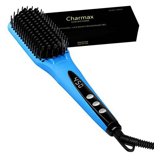 Charmax Ionic Hair Straightener Brush Pro, 450°F MCH Ceramic Hair Straightening Brush with ALCI Plug – Blue (CHB501),Glove & Pouch Included