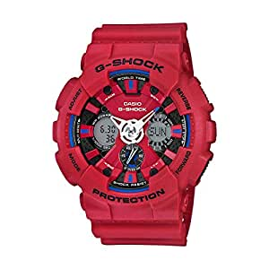 CASIO G-SHOCK MENS RED RESIN STRAP BAND WATCH GA-120TR-4A