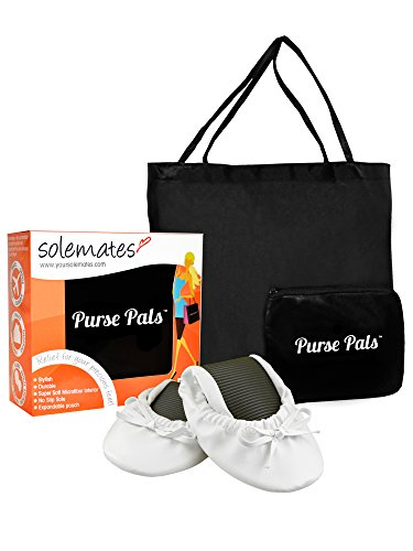 Solemates Purse Pals Ballet Plegable Arqueado Flats W / Bolsa Ampliable Para Llevar Tacones Blancos