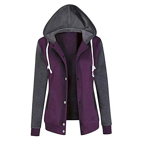 Lunga Donna Felpa Daily Soprabito Solido Jacket Inverno Casual Da Con Cappuccio Manica Viola Outwear Fashion Autunno rHqwHpXcW