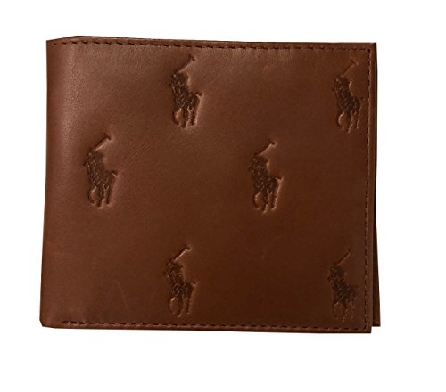 Lauren Logo Brown Card Wallet Mens 8 Bifold Leather Ralph Pony Dark PdqwPg