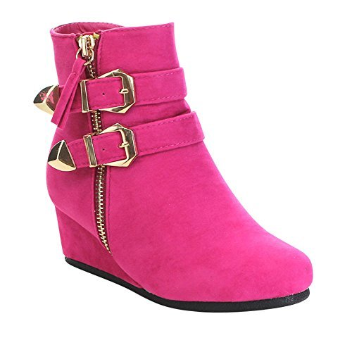 Link Peggy-90K Children Girl's Wedge Heel Double Straps High Top Ankle Booties,Fuchsia,1