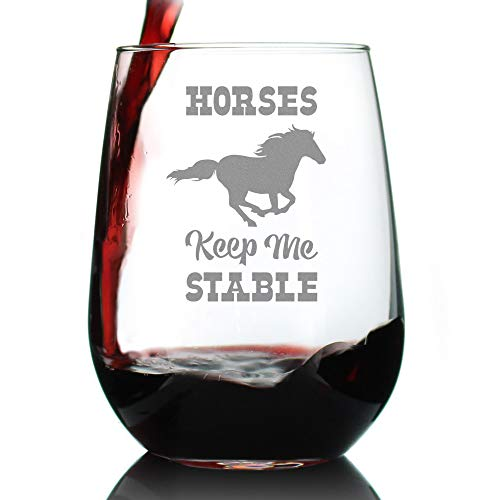 Horses Keep Me Stable - Cute Funny Stemless Wine Glass, Large 17 Ounces, Etched Sayings, Gift Box