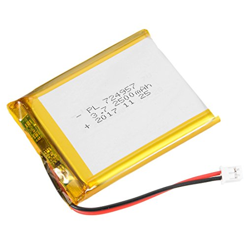 - uxcell Power Supply DC 3.7V 2500mAh 724957 Li-ion Rechargeable Lithium Polymer Li-Po Battery