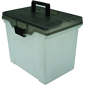 Staples Portable File Box, Letter Sized, Clear w/ Gray Lid (110991)