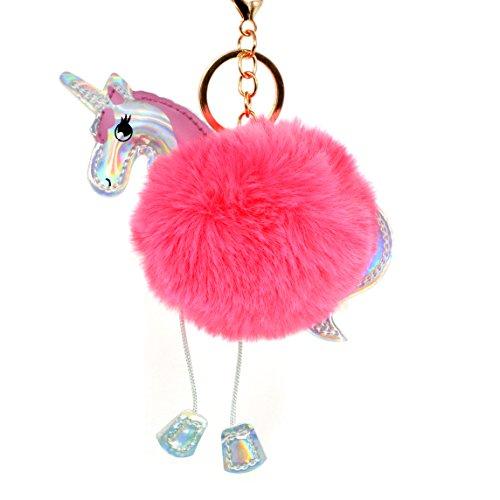 Cute Rainbow Pom Unicorn Keychain for Girls Kids Gold Metal Faux Fur Ball Keyring