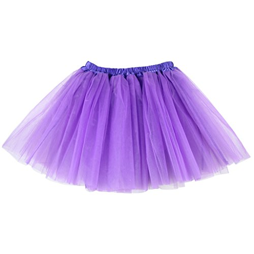 BUENOS NINOS Women's 3 Layers Fluffy Tutu Costume Ballet Dance Skirt for Running and Races Purple L-XL]()
