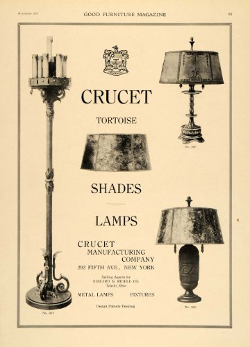1919 Ad Crucet Manufacturing Lamp Lighting Shades Decor - Original Print Ad from PeriodPaper LLC-Collectible Original Print Archive