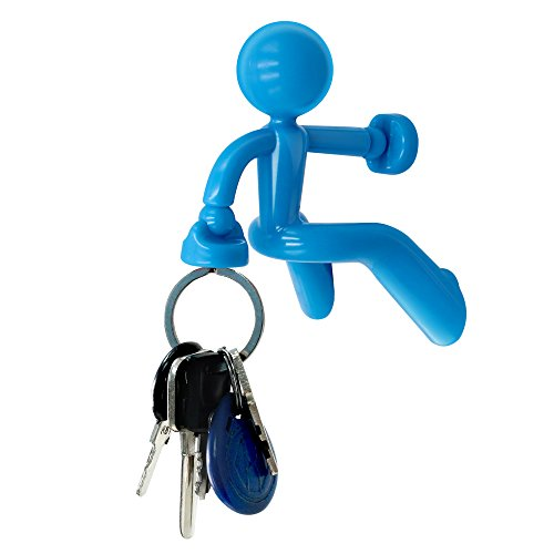 Decorative Key Pete Strong Magnetic Key Holder Hook Rack with Wall Climbing Man Design for Home Office School Car -Blue (Creative Gifts For Guys)