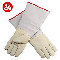 OFTEN Ultra Long Cryogenic Gloves Waterproof Protective Gloves Liquid Nitrogen Frozen Gloves Cold Storage,White,17.72\