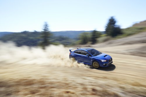 Subaru Wrx Sti 2015 Car Art Poster Print on 10 mil Archival Satin Paper Blue Front Side Dust Cloud Motion View