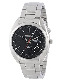 Seiko Men's Kinetic SMY119 Silver Stainless-Steel Quartz Watch with Black Dial